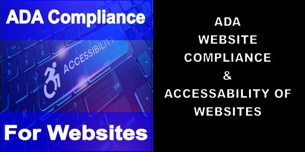 Blue ADA Compliance For Websites Computer Keyboard With a Wheelchair next to a black and white ADA Website Compliance notice