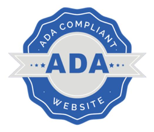 Blue and white ada certificated star on ada compliant website