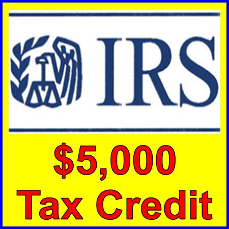 Yellow & White message on IRS $5000 Tax Credit given to business on accessibility of website cost