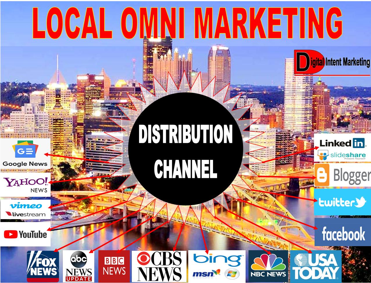 Local Omni Marketing Distribution Channel with the City Of Pittsburgh background and Omnipresence Marketing Networks