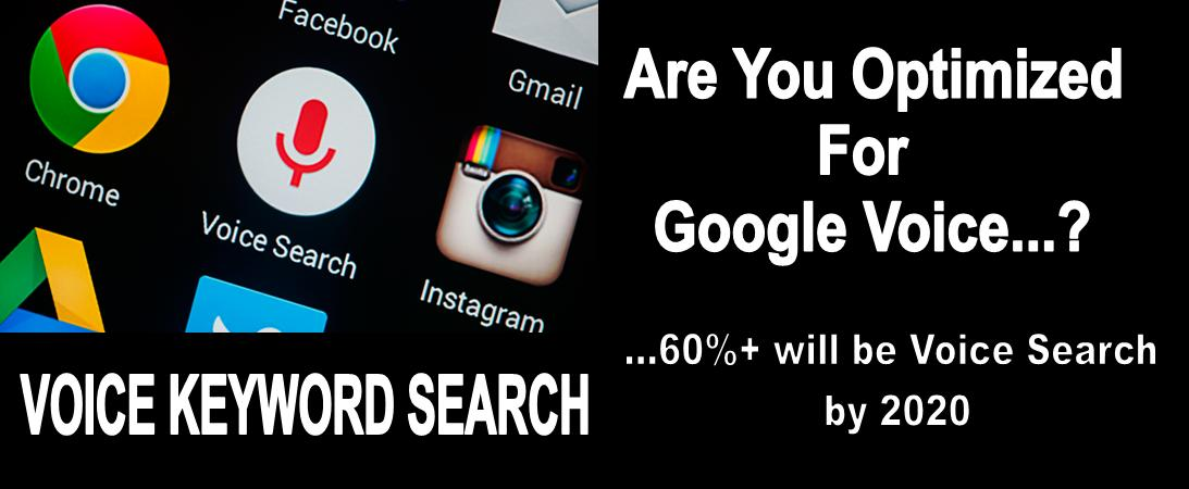 Voice Keyword Search with Google logo, black background & are you optimized for Google Voice. 60% will be Voice Search by 2020
