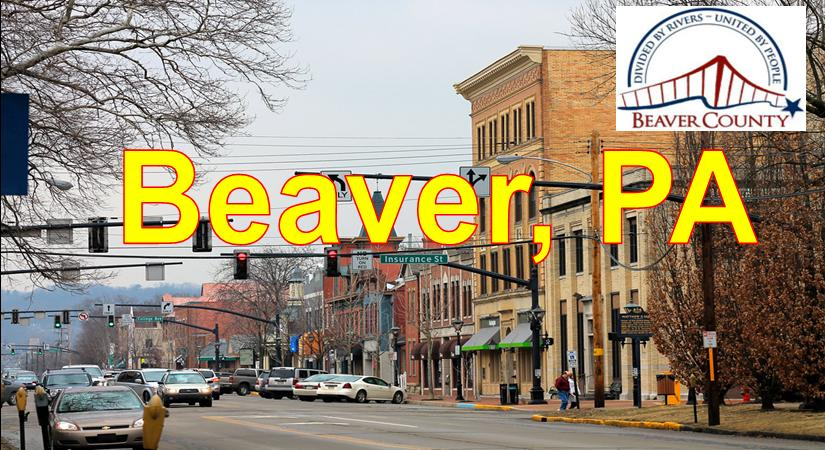 Beaver PA showing Main Stree Downtown and Stores Blue Sky Beaver  Market Area Served