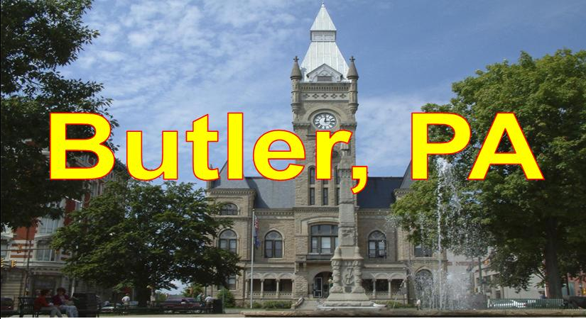 City of Butler Skyline showing County Court House and Blue Sky Butler  Market Area Served