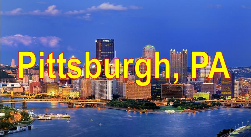 City of Pittsburgh Skyline showing 3 rivers blue sky background and Pittsburgh Market Area Served
