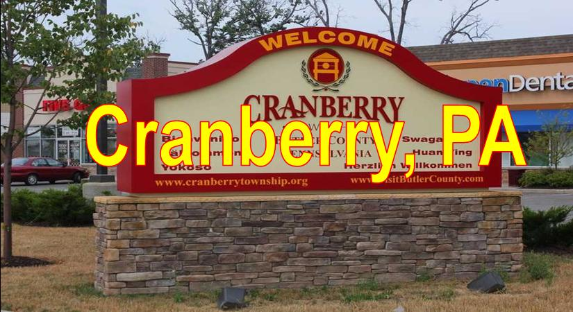 Cranberrt Twp PA showing Twp Mall Sign and Stores Blue Sky Cranberry  Market Area Served