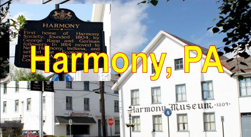 Harmony PA showing Harmony Museum and White Church Blue Sky Harmony  Market Area Served