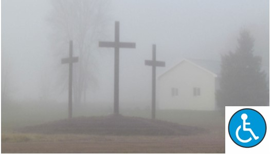 Church-and-three-crosses-surrounded-by-