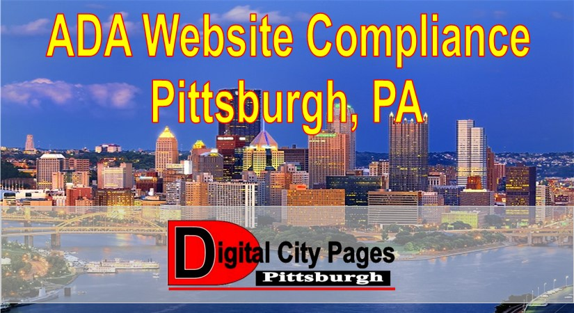 """""""ADA Website Compliance Pittsburgh PA"""" City of Pittsburgh and the 3 rivers blue sky background City Pages Pittsburgh City Pages Red Logo"""