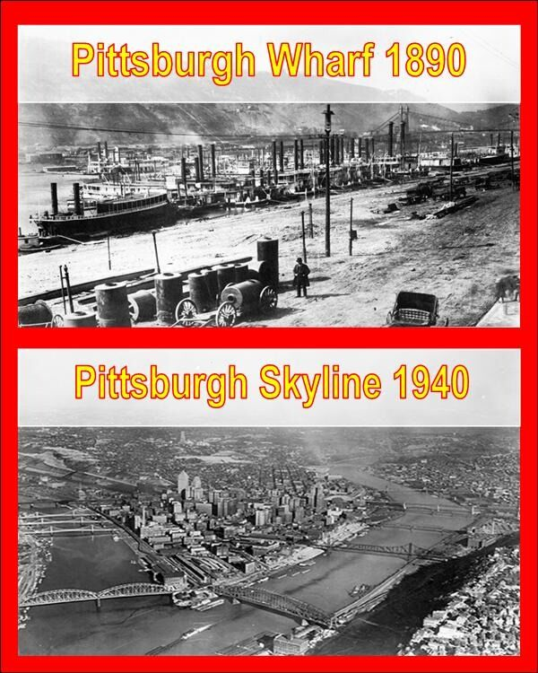 Pittsburgh Wharf in 1890 and Pittsburgh Skyline with 3 rivers in 1940